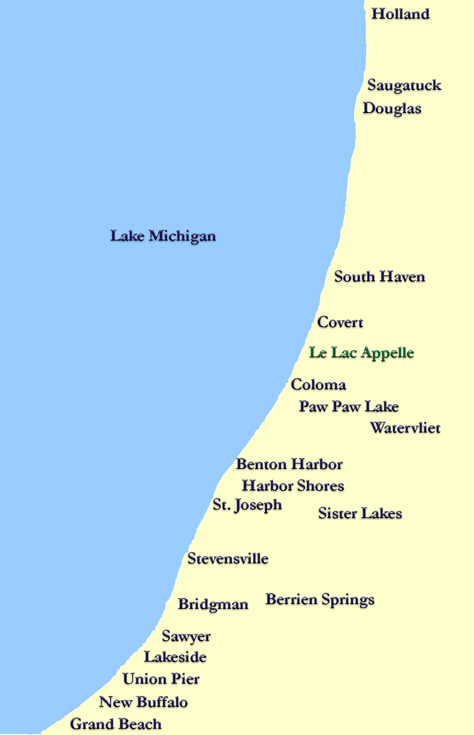 Lakefront Communities In Southwest Michigan - Map of southwest michigan