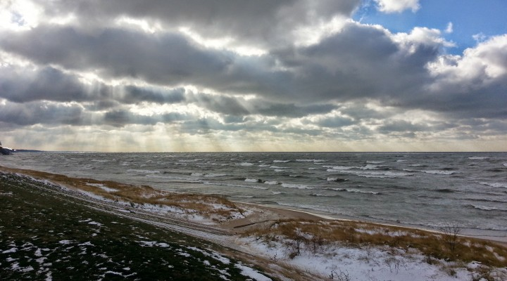Winter storm Lake Michigan South Haven Michigan