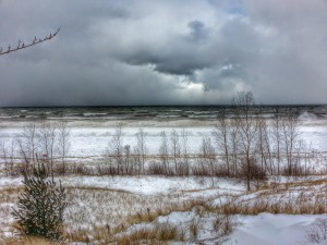 Lake Michigan Winter Snow Near South Haven Michigan